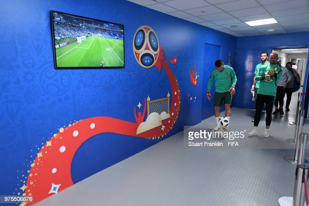 Anthony Lopes of Portugal and Beto of Portugal walk down the tunnel for the warm up prior to the 2018 FIFA World Cup Russia group B match between...