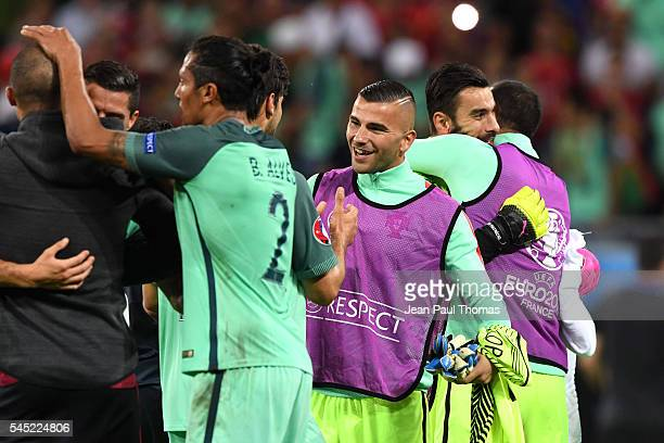 Anthony Lopes of Portugal celebrates after the Uefa Euro Semi final between Wales and Portugal at Stade des Lumieres on July 6 2016 in Lyon France