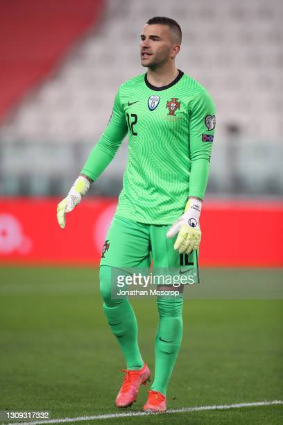 Anthony Lopes of Portugal reacts during the FIFA World Cup 2022 Qatar qualifying match between Portugal and Azerbaijan at Allianz Stadium on March...