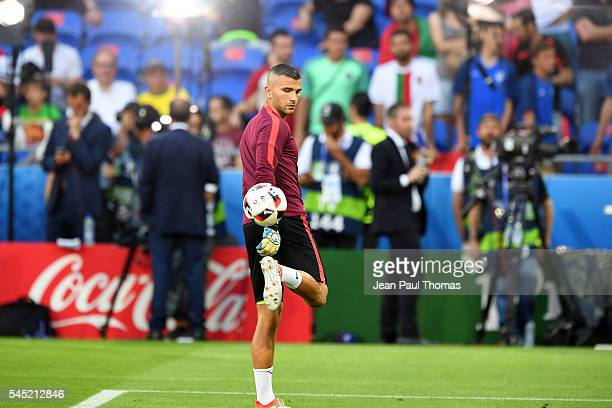 Anthony Lopes of Portugal warms up during the Uefa Euro Semi final between Wales and Portugal at Stade des Lumieres on July 6 2016 in Lyon France