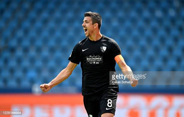 Anthony Losilla of Bochum after he scores the opening goal during the Second Bundesliga match between VfL Bochum 1848 and 1. FC Heidenheim 1846 at...