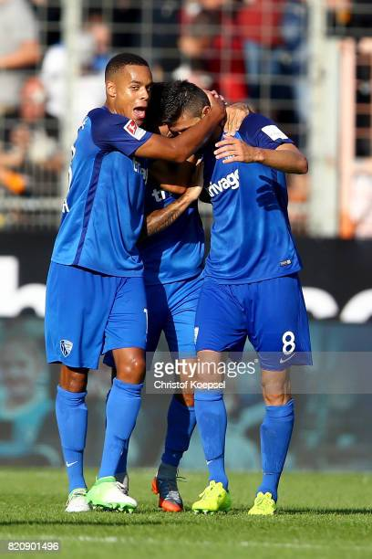 Anthony Losilla of Bochum celebrates the second goal with Jan Gyamerah of Bochum during the preseason friendly match between VfL Bochum and Borussia...
