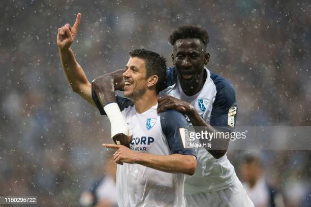 Anthony Losilla of VfL Bochum celebrates with Silvere Ganvoula of VfL Bochum after scoring his team's first goal during the Second Bundesliga match...