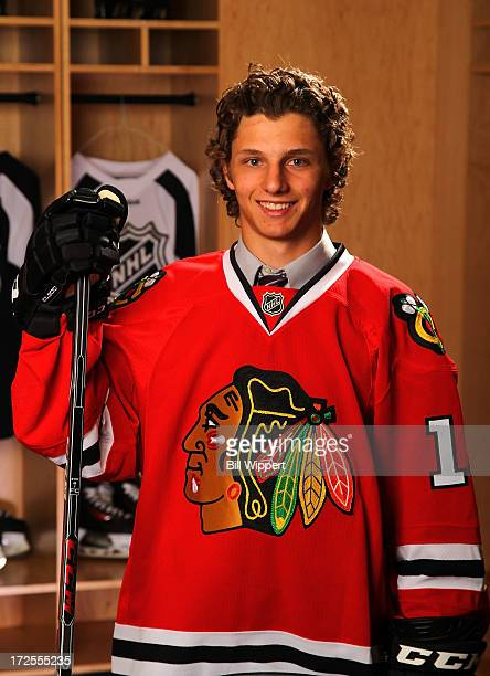 Anthony Louis 181st pick overall by the Chicago Blackhawks poses for a portrait during the 2013 NHL Draft at Prudential Center on June 30 2013 in...