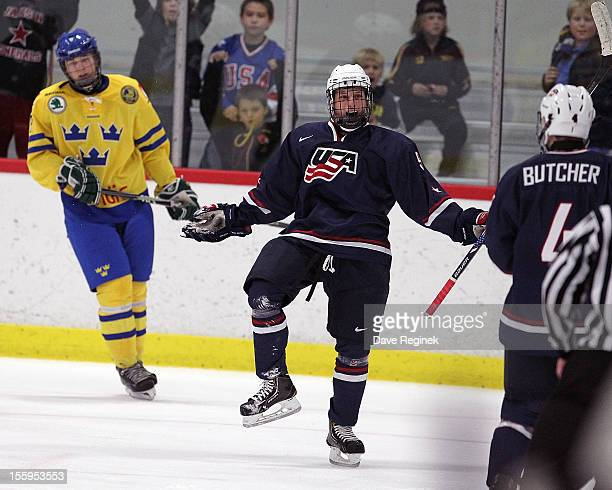 Anthony Louis of the USA celebrates his third period goal against Sweden during the U-18 Four Nations Cup on November 9, 2012 at the Ann Arbor Ice...