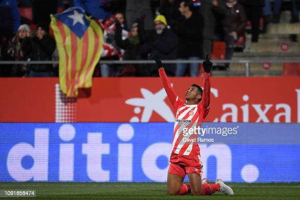 Anthony Lozano of Girona FC celebrates after scoring his team's first goal during the Copa del Rey Round of 16 match between Girona FC and Atletico...