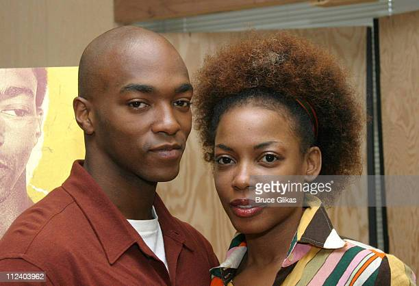 "Anthony Mackie and Aunjanue Ellis during Alfre Woodard and ""Drowning Crow"" Meet The Press at Manhattan Theater Club Rehearsal Studios in New York..."