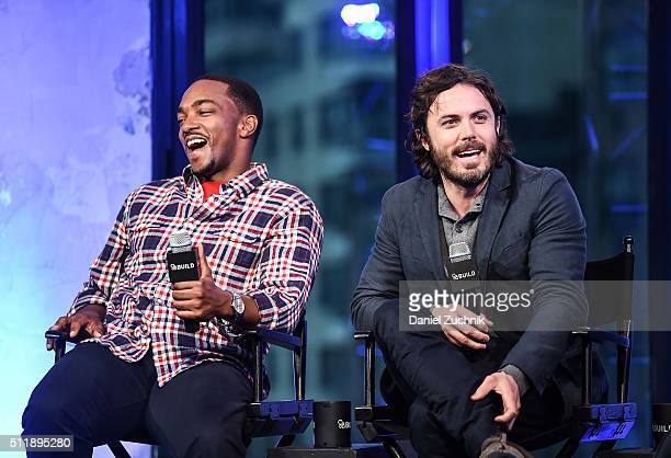 Anthony Mackie and Casey Affleck attend AOL Build to discuss their new film 'Triple 9' at AOL Studios on February 23, 2016 in New York City.