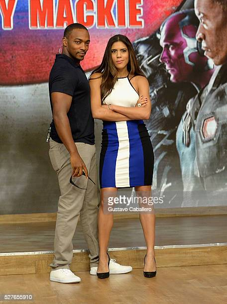 Anthony Mackie and Francisca Lachapel on the set of Univision's 'Despierta America' to promote the film 'Captain America Civil War' at Univision...