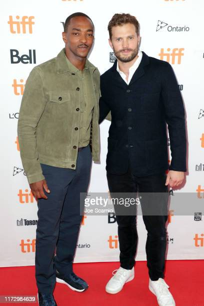 Anthony Mackie and Jamie Dornan attend the SYNCHRONIC premiere during the 2019 Toronto International Film Festival at Ryerson Theatre on September 07...