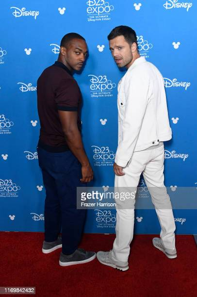 Anthony Mackie and Sebastian Stan attend D23 Disney + event at Anaheim Convention Center on August 23, 2019 in Anaheim, California.