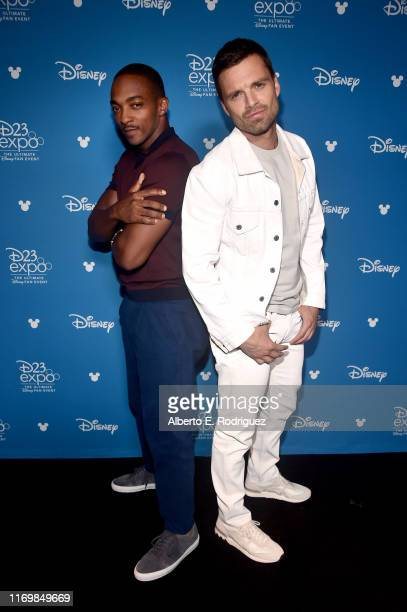 Anthony Mackie and Sebastian Stan of 'The Falcon and The Winter Soldier' took part today in the Disney+ Showcase at Disney's D23 EXPO 2019 in...