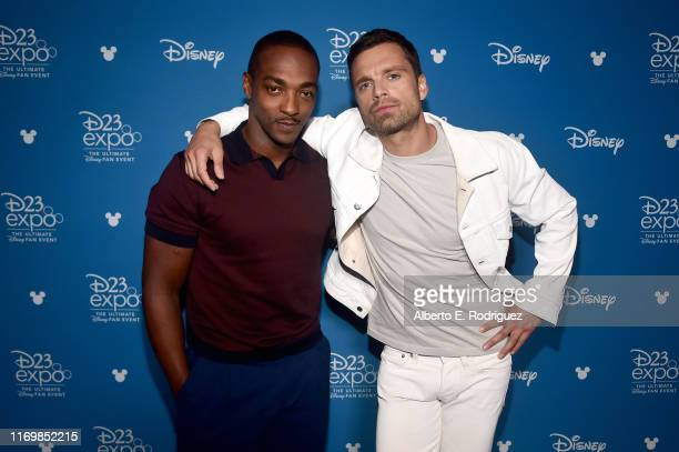 Anthony Mackie and Sebastian Stan of 'The Falcon and The Winter Soldier' took part today in the Disney Showcase at Disney's D23 EXPO 2019 in Anaheim...