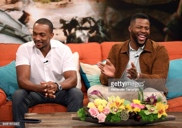 """Anthony Mackie and Winston Duke are seen on the set of """"Despierta America"""" at Univision Studios to promote the film """"Avengers Infinity War"""" on April..."""