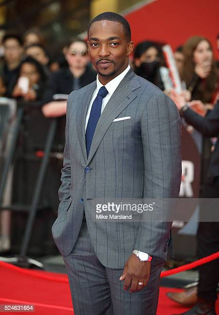 Anthony Mackie arrives for UK film premiere 'Captain America Civil War' at Vue Westfield on April 26 2016 in London England