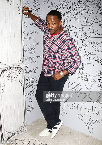Anthony Mackie attends AOL Build Speaker Series Casey Affleck and Anthony Mackie 'Triple 9' at AOL Studios In New York on February 23 2016 in New...