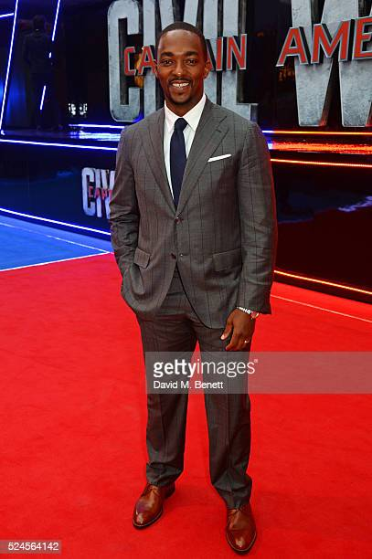 Anthony Mackie attends the European Premiere of 'Captain America Civil War' at Vue Westfield on April 26 2016 in London England
