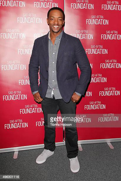 Anthony Mackie attends the SAGAFTRA Foundation Conversations with the cast of 'Shelter' at SAG Foundation Actors Center on November 7 2015 in Los...