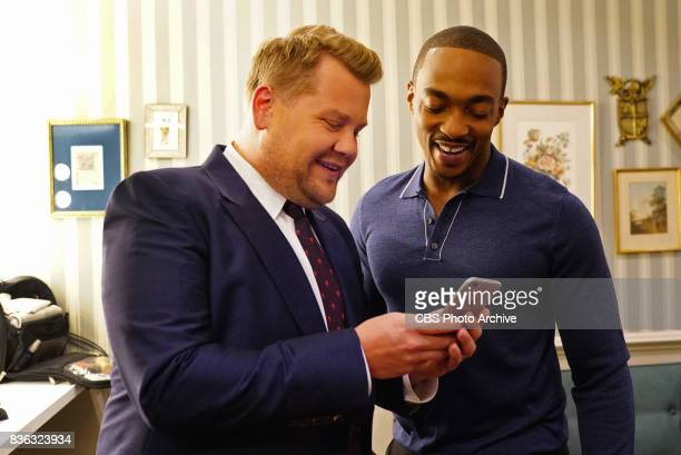 Anthony Mackie backstage with James Corden during 'The Late Late Show with James Corden' Monday August 7 2017 On The CBS Television Network