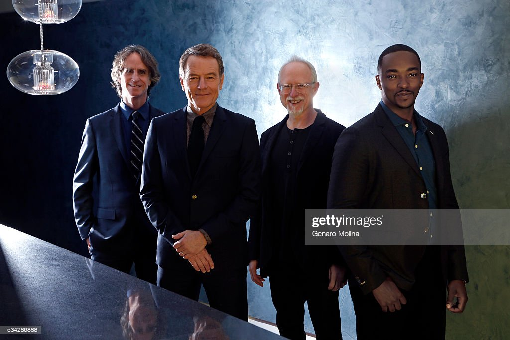 Anthony Mackie, Bryan Cranston, Jay Roach, Robert Schenkkan of 'All The Way' are photographed for Los Angeles Times on May 9, 2016 in Los Angeles, California. PUBLISHED IMAGE.