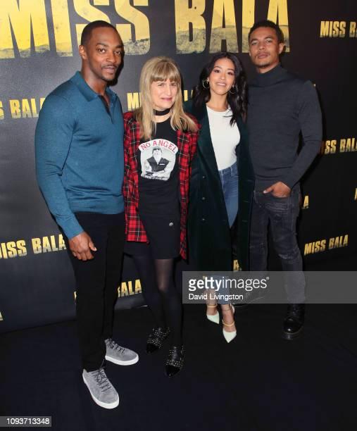 Anthony Mackie director Catherine Hardwick Gina Rodriguez and Ismael Cruz Cordova attend the Miss Bala photo call at The London Hotel on January 13...