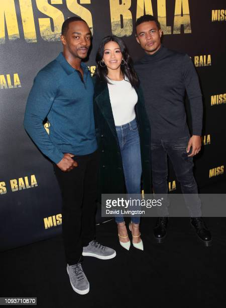Anthony Mackie Gina Rodriguez and Ismael Cruz Cordova attend the Miss Bala photo call at The London Hotel on January 13 2019 in West Hollywood...