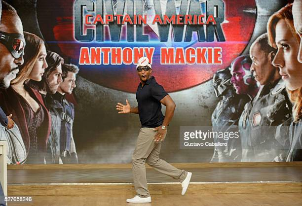 Anthony Mackie is on the set of Univision's 'Despierta America' to promote the film 'Captain America Civil War' at Univision Studios on May 3 2016 in...
