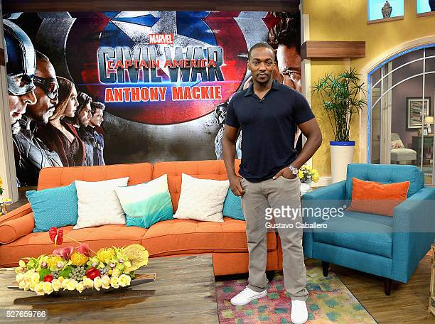 Anthony Mackie is on the set of Univision's Despierta America to promote the film Captain America Civil War at Univision Studios on May 3 2016 in...