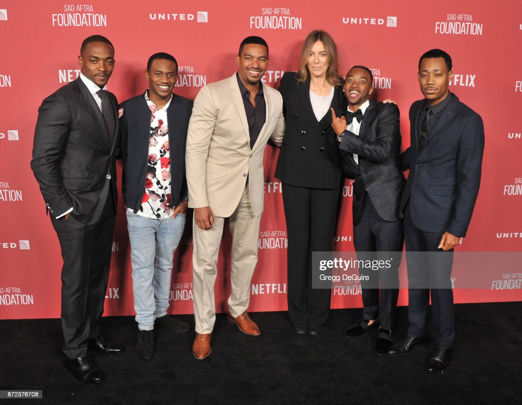 Anthony Mackie, Malcolm David Kelley, Laz Alonso, honoree Kathryn Bigelow, Algee Smith, and Tyler James Williams arrive at the SAG-AFTRA Foundation Patron of the Artists Awards 2017 on November 9, 2017 in Beverly Hills, California.