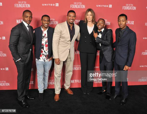 Anthony Mackie Malcolm David Kelley Laz Alonso honoree Kathryn Bigelow Algee Smith and Tyler James Williams arrive at the SAGAFTRA Foundation Patron...