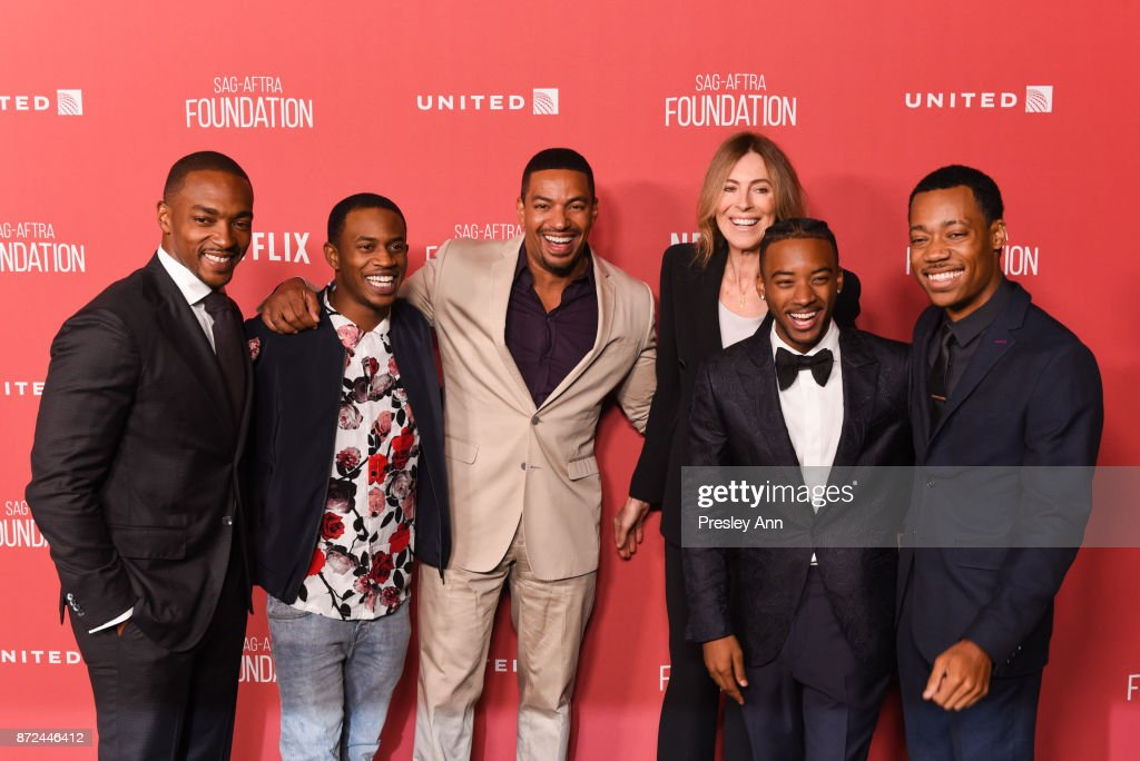 Anthony Mackie, Malcolm David Kelley, Laz Alonso, honoree Kathryn Bigelow, Algee Smith, and Tyler James Williams attend SAG-AFTRA Foundation Patron of the Artists Awards 2017 - Arrivals at Wallis Annenberg Center for the Performing Arts on November 9, 2017 in Beverly Hills, California.