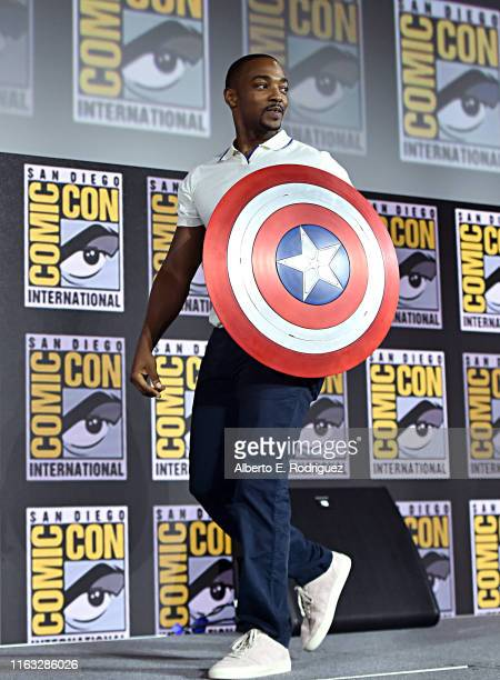 Anthony Mackie of Marvel Studios' 'The Falcon and The Winter Soldier' at the San Diego Comic-Con International 2019 Marvel Studios Panel in Hall H on...