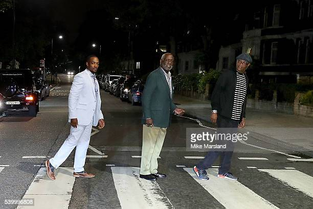 Anthony Mackie Richard Roundtree and Samuel L Jackson on the zebra crossing outside Abbey Road Studios during GQ and One For The Boys with Swatch...