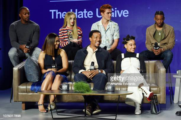 Anthony Mackie Sabrina Carpenter KJ Apa Algee Smith Rina Hall Russell Hornsby and Amandla Stenberg speak onstage during The Hate U Give Press...
