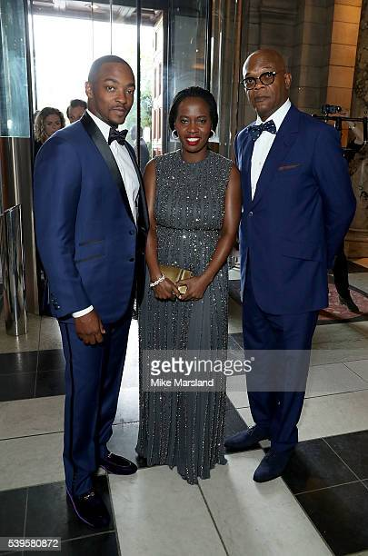 Anthony Mackie Samuel L Jackson and Sofia Davis attend the One For The Boys Fashion Ball at The VA on June 12 2016 in London England
