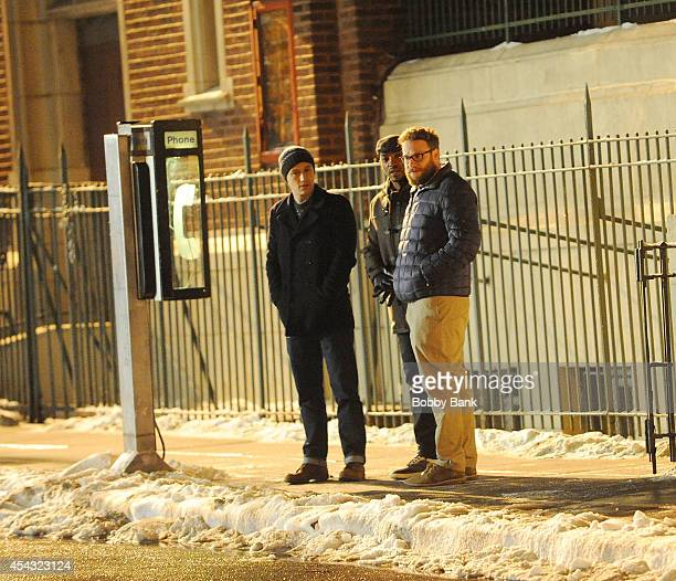 Anthony Mackie Seth Rogen and Joseph GordonLevitt on the set of 'Christmas Project' on August 28 2014 in New York City