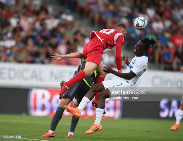 Anthony Maisonnial of Sion and Yann Karamoh of FC Internazionale compete for the ball during the pre-season frineldy match between FC Sion and FC...