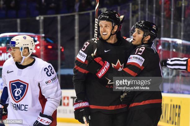 Anthony Mantha of Canada celebrates scoring a goal with Kyle Turris of Canada during the 2019 IIHF Ice Hockey World Championship Slovakia group A...