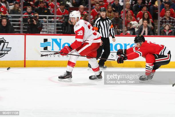 Anthony Mantha of the Detroit Red Wings and Connor Murphy of the Chicago Blackhawks chase the puck in the third period at the United Center on...