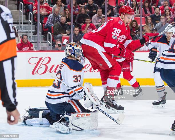 Anthony Mantha of the Detroit Red Wings blocks the view of Cam Talbot of the Edmonton Oilers during an NHL game at Little Caesars Arena on November...