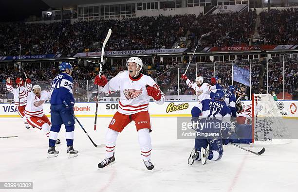 Anthony Mantha of the Detroit Red Wings celebrates after scoring a third period goal on the Toronto Maple Leafs to tie the game during the 2017...