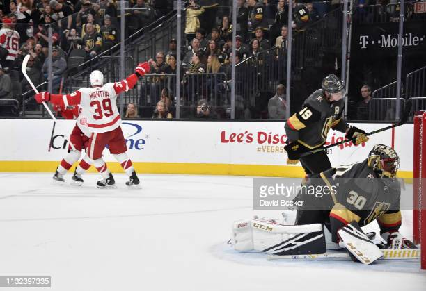 Anthony Mantha of the Detroit Red Wings celebrates after scoring the gamewinning goal in overtime against the Vegas Golden Knights at TMobile Arena...