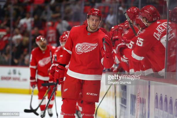 Anthony Mantha of the Detroit Red Wings celebrates his first period goal with teammates while playing the Montreal Canadiens at Little Caesars Arena...