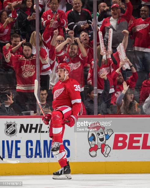 Anthony Mantha of the Detroit Red Wings celebrates his second period goal during an NHL, home opening night game against the Dallas Stars at Little...