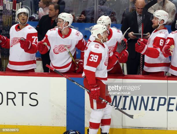 Anthony Mantha of the Detroit Red Wings celebrates his second period goal against the Winnipeg Jets with teammates at the bench at the Bell MTS Place...