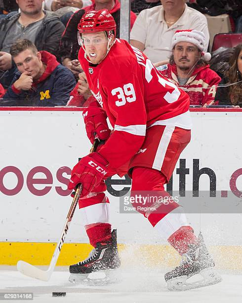 Anthony Mantha of the Detroit Red Wings controls the puck during an NHL game against the Columbus Blue Jackets at Joe Louis Arena on December 9 2016...