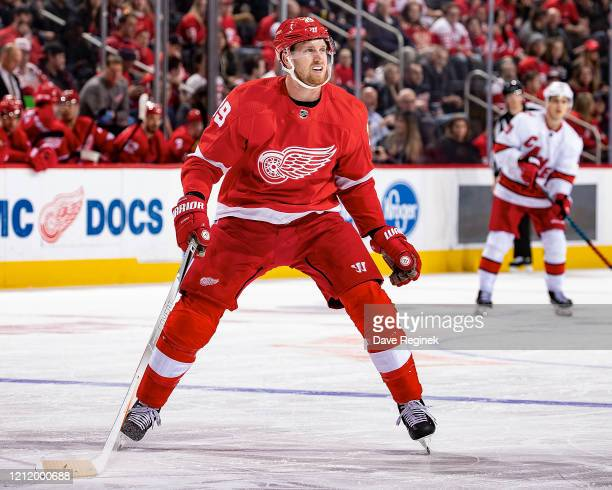 Anthony Mantha of the Detroit Red Wings follows the play against the Carolina Hurricanes during an NHL game at Little Caesars Arena on March 10, 2020...