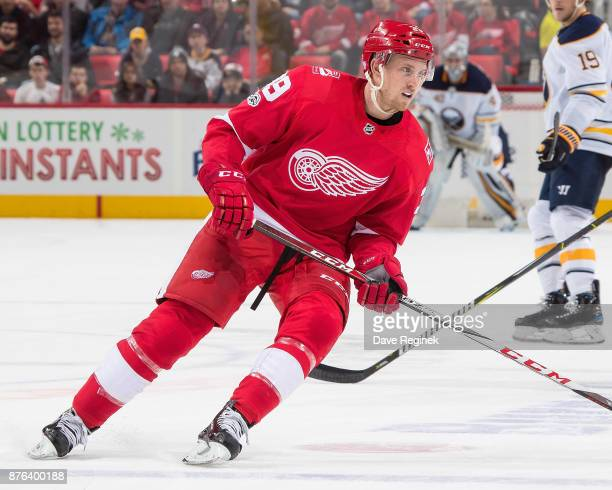 Anthony Mantha of the Detroit Red Wings follows the play against the Buffalo Sabres during an NHL game at Little Caesars Arena on November 17 2017 in...