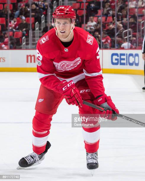 Anthony Mantha of the Detroit Red Wings follows the play against the St Louis Blues during an NHL game at Little Caesars Arena on December 9 2017 in...