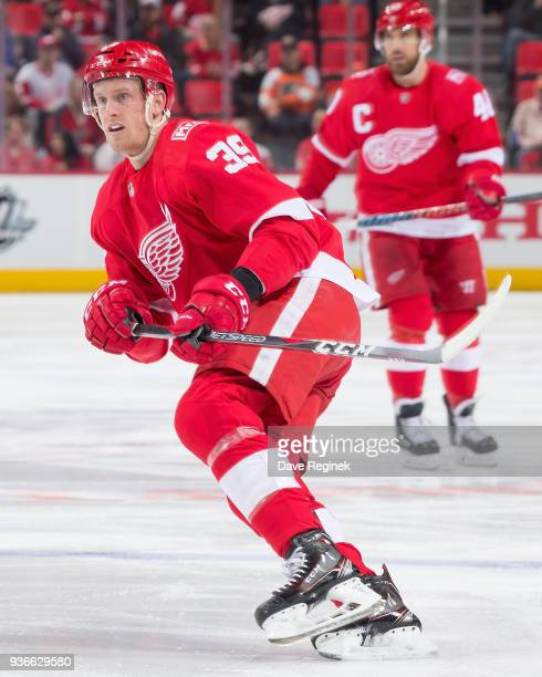 Anthony Mantha of the Detroit Red Wings follows the play against the Philadelphia Flyers during an NHL game at Little Caesars Arena on March 20 2018...